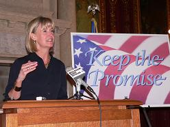 Lt. Governor Barbara Lawton urging lawmakers to restore the GI bill (Photo: Jackie Johnson)