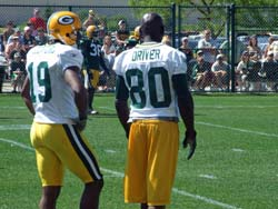 Donald Driver watches opening workout