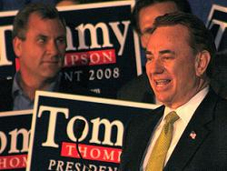 Tommy Thompson when he made his announcement in Iowa to run for president (Tommy Thompson 2008 website photo)