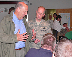 Governor Jim Doyle and Adjudent General Don Dunbar meet with Wisconsin Emergency Management officials at the Emergency Operations Center (Photo: Jackie Johnson)