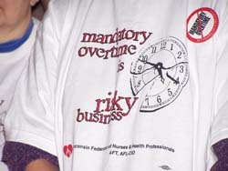 Nurses are calling for a ban on mandatory overtime hours.