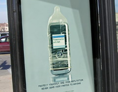 cell phone covered by condom