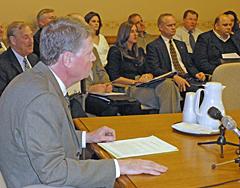 Senator Jim Holperin at legislative committee hearing