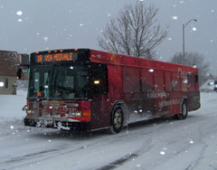 A Madison Metro bus on a snowy morning