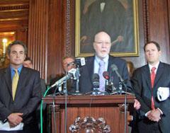 Senators Jon Erpenbach and Fred Risser with Representative Jon Richards at Capitol press conference