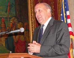 Governor Jim Doyle delivers grim news about growing budget deficit (Photo: Jackie Johnson)