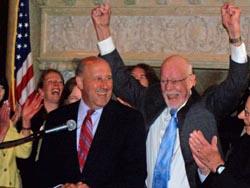 Sen. Fred Risser (D-Madison) celebrates.