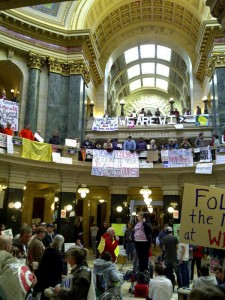 Protesters in Wisconsin state Capitol (PHOTO: WRN)