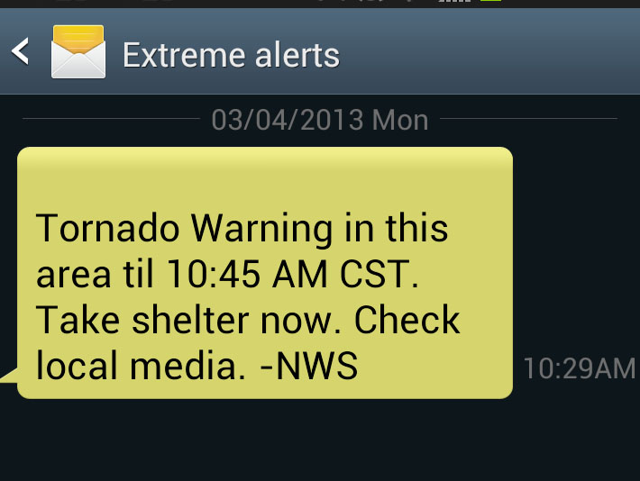 False Tornado Warning Sent To Cell Phone Users