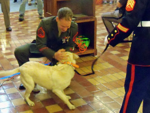 Sgt. Gundlach is reunited with Casey (Photo: Radio Iowa)