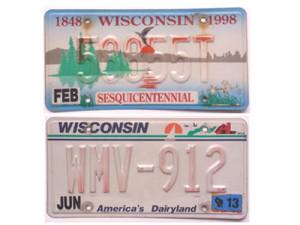 Examples of the faded plates the state wants to replace (Photo: WisDOT)
