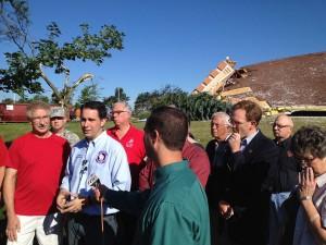 Governor Walker tours tornado damage in New London