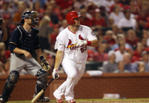 Cardinal Matt Adams homers in the 8th. UPI/Bill Greenblatt