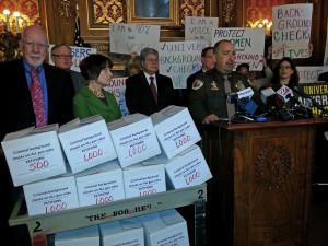 Activists and Democratic lawmakers push for universal background checks on gun sales. (PHOTO: Jackie Johnson)