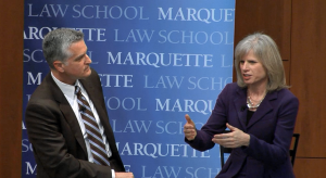 Mike Gousha talks with Mary Burke at Marquette University Law School in Milwaukee