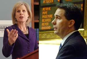 Mary Burke and Governor Scott Walker (PHOTO: Jackie Johnson, file)