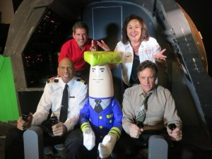 Cast members of Airplane reunite to make Wisconsin tourism commercial. Tourism Secretary Klett and Deputy Secretary Fantle enjoy photo-op. (PHOTO: Getty Images)