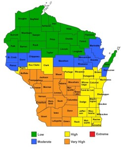 DNR fire danger map