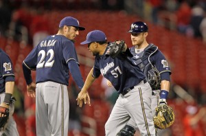 Francisco Rodriguez celebrates his 12th save (Photo) UPI/Bill Greenblatt