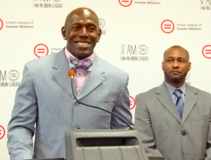 Donald Driver talks about Click It or Ticket as former Madison Police Chief Noble Wray looks on.
