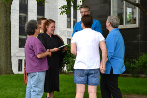 A marriage ceremony outside Madison's City County Building. (File Photo: WRN)
