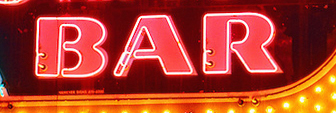 Modern Snack Bar Neon, Aquebogue, New York, Long Island, North Fork, Diner, church. dusk