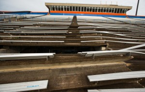 Pioneer Stadium at UW Platteville is damaged after tornadoes storm through the campus. (PHOTO: UW Platteville)