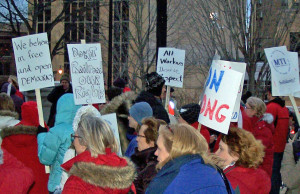Teachers protest at the Capitol during the debate over Act 10 (File photo: WRN)