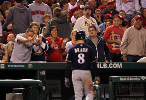 Ryan Braun is taunted by Cardinal fans after striking out. UPI/Bill Greenblatt
