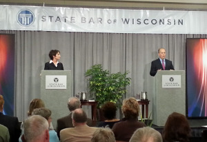 Democrat Susan Happ and Republican Brad Schimel meet on stage in their final debate. (Photo: WRN)