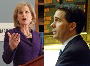 Mary Burke, Scott Walker (PHOTO: Jackie Johnson)