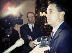 Governor Scott Walker talks to reporters (PHOTO: Jackie Johnson, file)