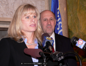 Then-Governor Jim Doyle introduces his new Commerce Secretary Mary Burke. (PHOTO: Jackie Johnson, file)