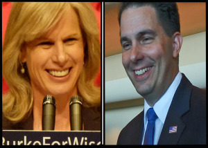 Democratic gubernatorial candidate Mary Burke and GOP Governor Scott Walker (PHOTO: Jackie Johnson)