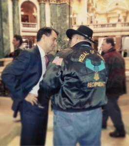 Governor Walker talks to Medal of Honor recipient Gary Wetzel (PHOTO: Jackie Johnson)