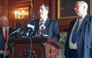 Senate Republicans unveil their school accountability bill. (Photo: Andrew Beckett)