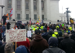 Union members rally against right-to-work bill