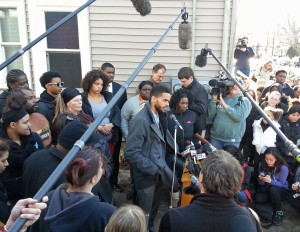 Turin Carter addresses the media about the shooting death of his nephew, Tony Robinson Jr. (Photo: Andrew Beckett)
