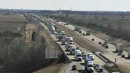 Traffic backed up on I-94 near Janesville (Photo: WisDOT)