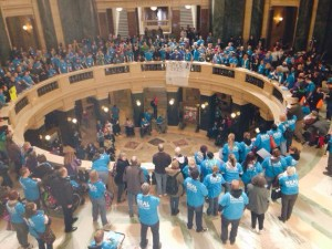 Wisconsin aging and long-term disability rights advocates converged on the rotunda last week. (PHOTO: Bob Hague)