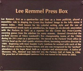 Lee Remmel Press Box