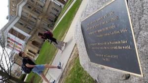 Dedication to Wisconsin Idea on Bascom Hall (PHOTO: Jackie Johnson)