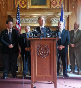 Republicans outline their latest prevailing wage proposal. (Photo: Andrew Beckett)