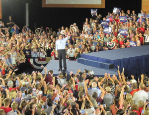 Gov. Scott Walker greets supporters in Waukesha (Photo: Andrew Beckett)