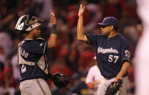 Francisco Rodriguez celebrates one of his 18 saves this season. UPI/Bill Greenblatt