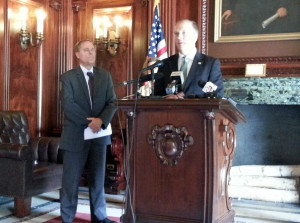 "Attorney General Brad Schimel and Sen. Rob Cowles announce the ""Justice for Children"" legislation. (Photo: WRN)"