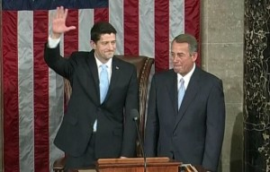 Newly-elected Speaker Paul Ryan (R-WI) and outgoing Speaker John Boehner (R-OH).