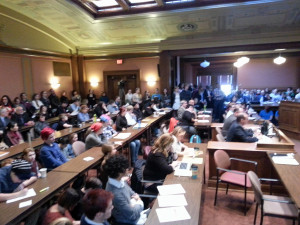 The public packs a hearing room at the Capitol for a hearing on the 'transgender bathroom' bill. (Photo: WRN)
