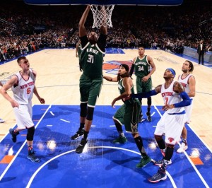 John Henson dunks on the Knicks. Photo: Courtesy of the Milwaukee Bucks