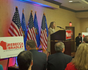 Justice Rebecca Bradley speaks to supporters Tuesday night. (Photo: Andrew Beckett)